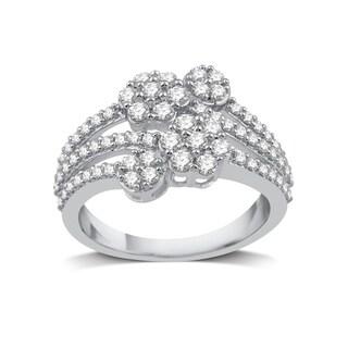10k White Gold 1ct TDW White Diamond Fashion Cluster Flower Ring - White I-J (More options available)