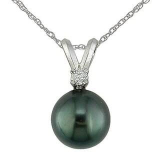 Miadora 14k Gold Diamond & Cultured Tahitian Pearl Pendant