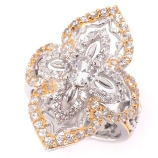Michael Valitutti Palladium Silver White Zircon Elongated Ring