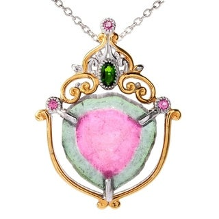 Michael Valitutti Palladium Silver Watermelon Tourmaline & Multi Gem Pendant