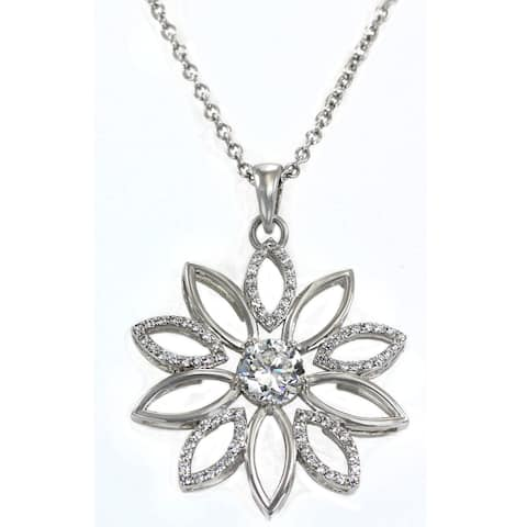 Michael Valitutti Sterling Silver and Cubic Zirconia Flower Pendant