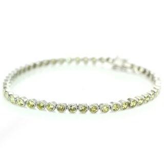 Michael Valitutti Palladium Silver Yellow Cubic Zirconia Box Clasp Tennis Bracelet