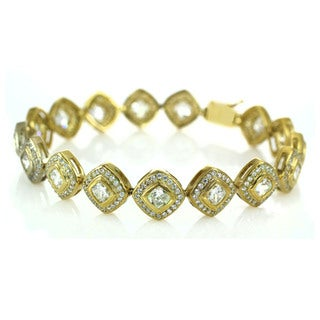 Michael Valitutti Gold over Silver Cubic Zirconia Box Clasp Bracelet