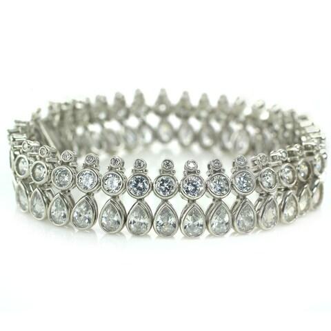 Michael Valitutti Sterling Silver Cubic Zirconia Box Clasp Bracelet