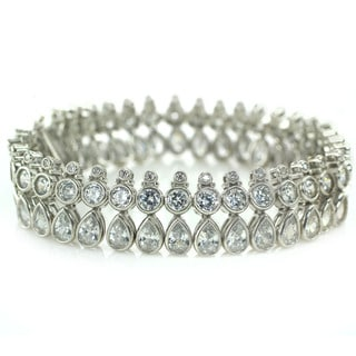 Michael Valitutti Sterling Silver Cubic Zirconia Box Clasp Bracelet