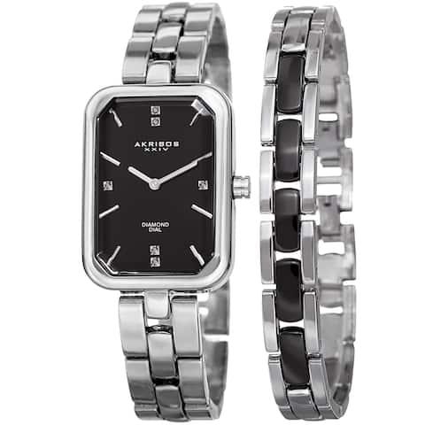 Akribos XXIV Women's Quartz Diamond Rectangular Silver-tone Watch with Jewelry Bracelet