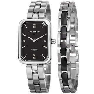 Akribos XXIV Women's Quartz Diamond Rectangular Silver-tone Watch with Jewelry Bracelet with FREE Bangle