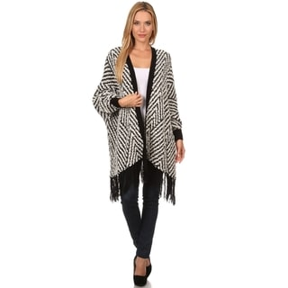 High Secret Women's Fuzzy Popcorn Black/White Acrylic/Polyamide Knit Fringe Poncho Cardigan