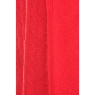 High Secret Women's Red/Black Cashmere/Nylon/Viscose Solid Color Knit Open-front Cardigan