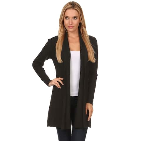 High Secret Women's Solid Color Knit Open-front Cardigan