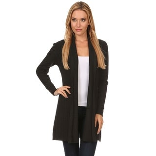 High Secret Women's Red/Black Cashmere/Nylon/Viscose Solid Color Knit Open-front Cardigan (More options available)