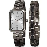 Akribos XXIV Women's Quartz Diamond Rectangular Gun Watch + Jewelry Bracelet