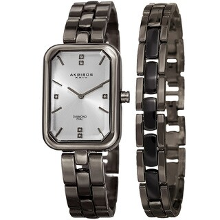 Akribos XXIV Women's Quartz Diamond Rectangular Gun Watch + Jewelry Bracelet with FREE Bangle