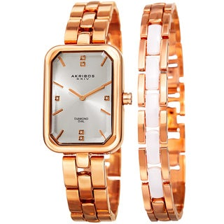 Akribos XXIV Women's Quartz Diamond Rectangular Rose-Tone Watch + Jewelry Bracelet