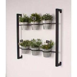 Kate and Laurel Groves Indoor Herb Garden Black Metal Hanging Wall Planter