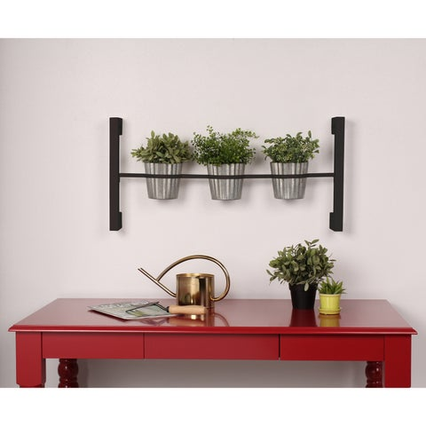Kate and Laurel Groves Indoor Herb Garden Black Metal Hanging Wall Planter