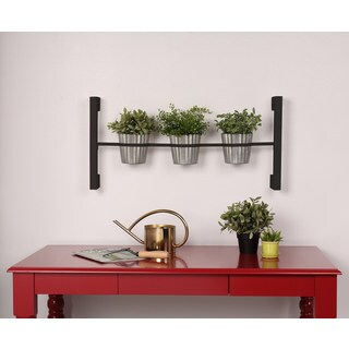 Kate and Laurel Groves Indoor Herb Garden Black Metal Hanging Wall Planter (3 options available)