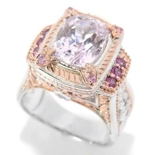 Michael Valitutti Palladium Silver Cushion Cut Kunzite, Rhodolite & Pink Sapphire Ring