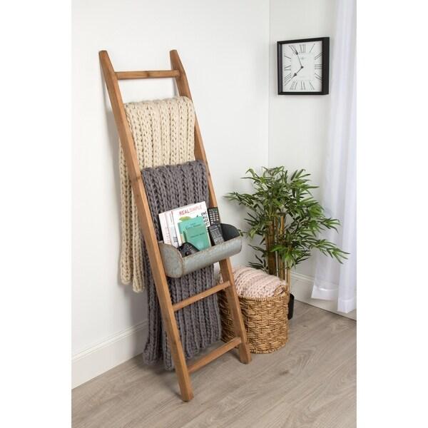 Kate And Laurel Pothos Rustic Blanket Ladder With Storage Bins