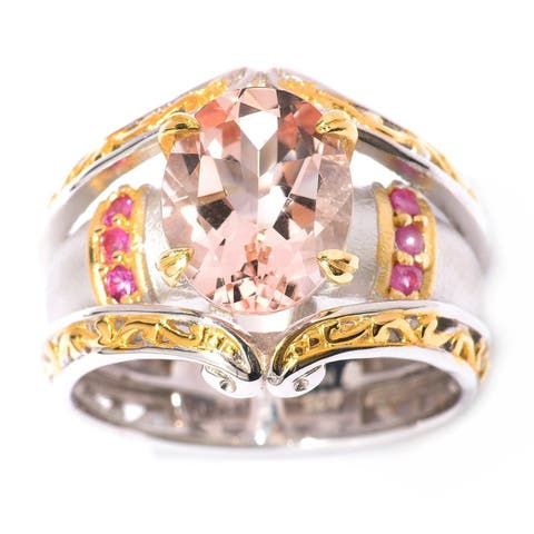Michael Valitutti Palladium Silver Morganite & Pink Sapphire Sandblasted Ring
