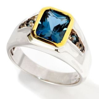 Michael Valitutti Palladium Silver Radiant-Cut London BlueTopaz & Black Diamond Men's Ring