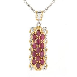 Michael Valitutti Palladium Silver Marquise Ruby Cluster Elongated Pendant