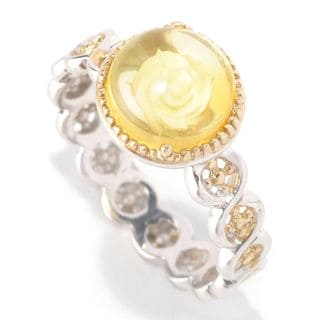 Michael Valitutti Palladium Silver Yellow Amber Stack Band Ring
