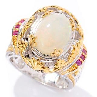 Michael Valitutti Palladium Silver Ethiopian Opal & Pink Sapphire Ring