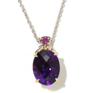 Michael Valitutti Palladium Silver Checkerboard Cut Tanzanian Amethyst and Rhodolite Pendant