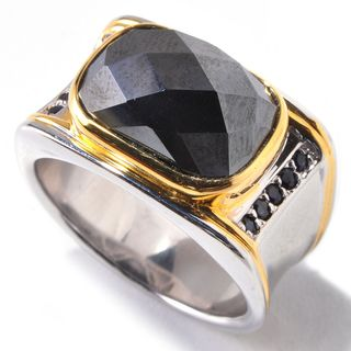 Michael Valitutti Palladium Silver Hematite & Blue Sapphire Men's Ring