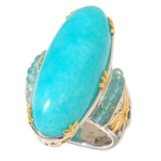 Michael Valitutti Palladium Silver Amazonite, Apatite & Blue Sapphire Elongated Ring