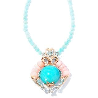 Michael Valitutti Palladium Silver Peruvian Amazonite, Pink Opal and Blue Zircon Enhancer Necklace