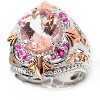 Michael Valitutti Palladium Silver Morganite & Pink Sapphire Ring
