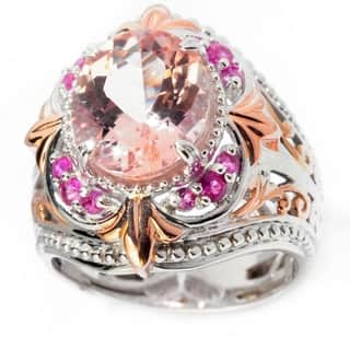 Michael Valitutti Palladium Silver Morganite & Pink Sapphire Ring|https://ak1.ostkcdn.com/images/products/13847073/P20489723.jpg?impolicy=medium