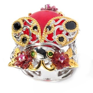 Michael Valitutti Palladium Silver Red Quartz & Multi Gemstone Ladybug Flower Ring