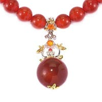 Michael Valitutti Palladium Silver Carnelian, Fire Opal and Orange Sapphire Floral Drop & Beaded Strand Toggle Necklace
