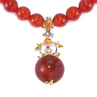 Michael Valitutti Palladium Silver Carnelian, Fire Opal and Orange Sapphire Floral Drop & Beaded Strand Toggle Necklace