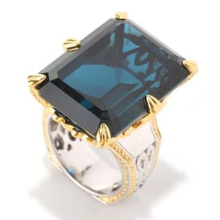 "Michael Valitutti Palladium Silver Octagon London Blue Topaz & Blue Sapphire ""New Yorker"" Ring"