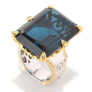 "Michael Valitutti Palladium Silver Octagon London Blue Topaz & Blue Sapphire ""New Yorker"" Ring"