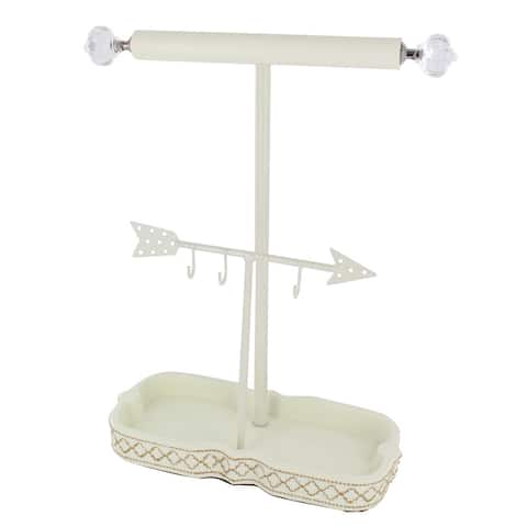 Clear/White Metal/Porcelain Jewelry Hanger/Organizer
