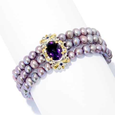 Michael Valitutti Palladium Silver Freshwater Cultured Pearl, Amethyst and Blue Sapphire Three-Row Bracelet