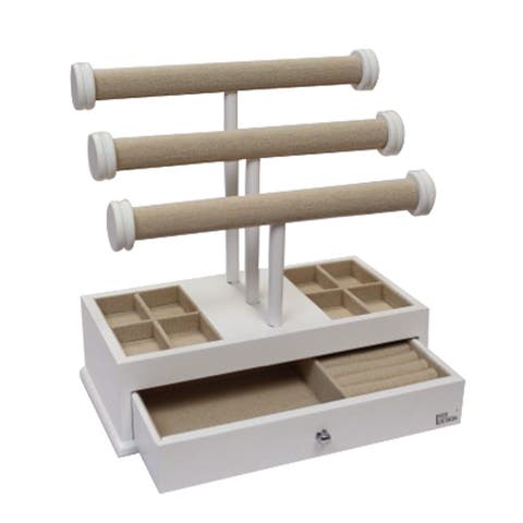 Ikee Design Wood/Linen 3-tier T-Bar Jewelry Organizer