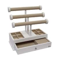 Ikee Design Wood/Linen 3-tier T-Bar Jewelry Organizer