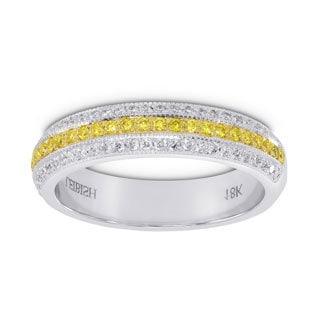 18k White Yellow Gold 0.69ct Yellow Diamond Band Ring Set