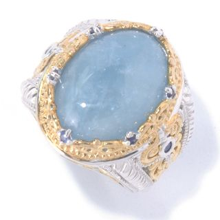 Michael Valitutti Palladium Silver Milky Aquamarine & Blue Sapphire Ring