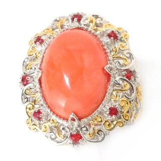 Michael Valitutti Palladium Silver Salmon Bamboo Coral & Orange Sapphire Ring