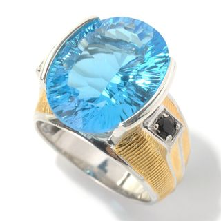 Michael Valitutti Palladium Silver Concave Cut Ceylon Blue Topaz & Black Spinel Men's Ring