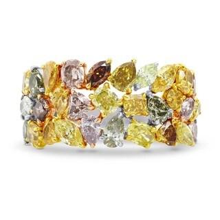 18k Tri-tone Gold 4 1/2ct TDW Colored Diamond Extraordinary Ring