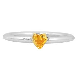 18k Two-tone Gold 1/3ct TDW Yellow Diamond Engagement Solitaire Ring
