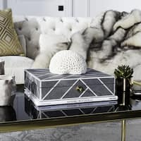 Safavieh Couture High Line Collection Ebba Black Faux Stingray Box with Key Hole